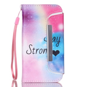 Detachable Wallet Leather Phone Shell for iPhone 5 5s - Stay Strong