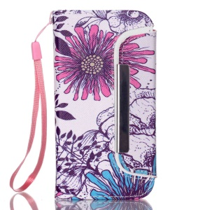 Detachable Wallet Leather Phone Cover for iPhone 5 5s - Flower