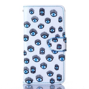 For iPhone 5s 5 Flip Wallet Leather Stand Cover - Multiple Blue Eyes
