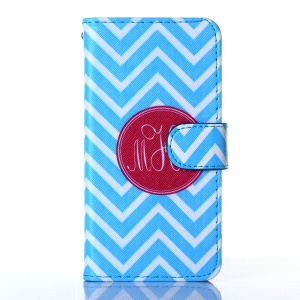 For iPhone 5s 5 Flip Wallet Leather Stand Shell - Blue Chevron