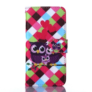 For iPhone 5s 5 Flip Stand Wallet Leather Case Shell - Sweet Owl Family