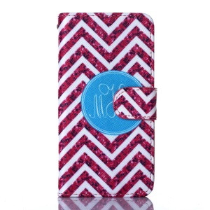 For iPhone 5s 5 Magnetic Card Holder Leather Phone Case - Rose Chevron