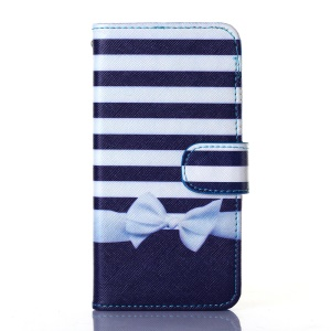 Dairy Style Card Holder Stand PU Leather Case for iPhone 5s 5 - Stripes and Bowknot