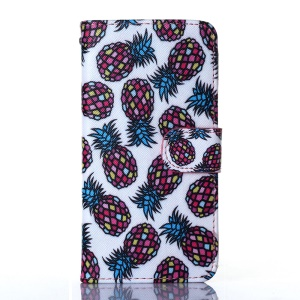 Dairy Style Card Holder Stand PU Leather Cover for iPhone 5s 5 - Colorized Pineapples