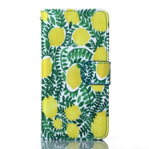 Dairy Style Wallet Stand Faux Leather Cover for iPhone 5s 5 - Lemons Pattern