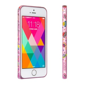 LOFTER Forest Series Hand Drawing Metal Bumper for iPhone 5 iPhone 5s - Monkeys in Pink Background