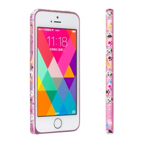 LOFTER Forest Series Hand Drawing Metal Bumper for iPhone 5 iPhone 5s - Cute Cats in Pink Background