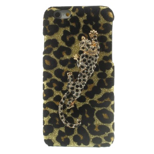 3D Rhinestone Leopard Glittery Sequins Leather Skin Hard Case for iPhone 6