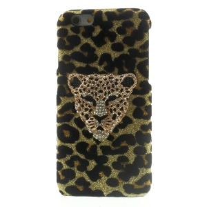 3D Rhinestone Leopard Head Glittery Sequins Leather Skin Hard Cover for iPhone 6