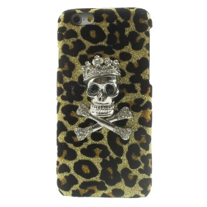 3D Rhinestone Skull Glittery Sequins Leather Skin Hard Shell for iPhone 6