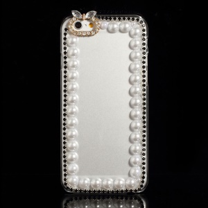 Pearl Rhinestone Clear Hard Case for iPhone 6 - Black
