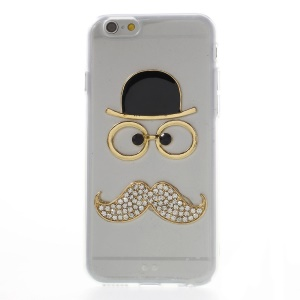 3D Glasses Hat Rhinestone Mustache Acrylic + TPU Hybrid Case for iPhone 6 - Transparent