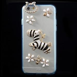 3D Horse & Flower Rhinestone Acrylic + TPU Hybrid Shell for iPhone 6 - Blue