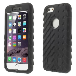 Three Pieces Tyre Texture Silicone + PC Hybrid Case for iPhone 6 4.7 inch - Black