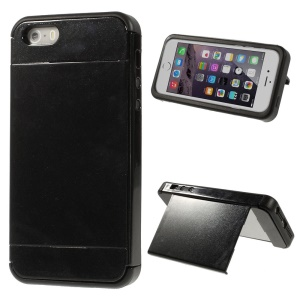 2-piece Glittery PC + TPU Card Slot Case for iPhone 5 5s with Screen Protector - Black