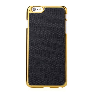 Football Grain Leather Coated Plating Hard Cover for iPhone 6 Plus 5.5 inch - Black