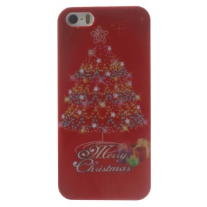 Christmas Tree & Stars Pattern Glossy Hard Plastic Case for iPhone 5s 5