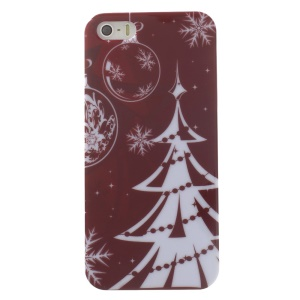 Christmas Tree & Snowflakes Pattern Glossy Hard Plastic Cover for iPhone 5s 5