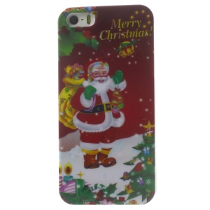 Happy Santa Claus Pattern Glossy Hard Plastic Phone Case for iPhone 5s 5