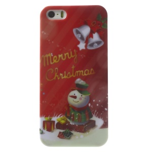 Christmas Bells & Snowman Pattern Glossy Hard Plastic Phone Shell for iPhone 5s 5
