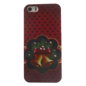 Christmas Bells & Dots Pattern Glossy Hard Plastic Phone Shell for iPhone 5s 5