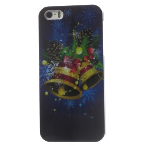 Christmas Bells & Pine Cones Pattern Glossy Hard Plastic Cover for iPhone 5s 5