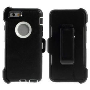 Shockproof PC + TPU Hybrid Case w/ Swivel Belt Clip Stand for iPhone 6 - White / Black
