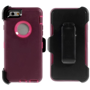Shockproof PC + TPU Hybrid Shell w/ Swivel Belt Clip Stand for iPhone 6 - Wine Red