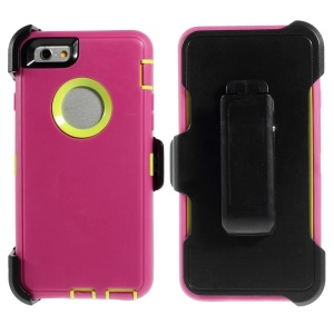 Shockproof PC + TPU Hybrid Shell w/ Swivel Belt Clip Stand for iPhone 6 - Rose