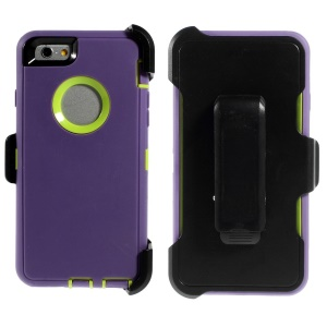 Shockproof PC + TPU Hybrid Case Shell w/ Swivel Belt Clip Stand for iPhone 6 - Green / Purple