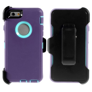 Shockproof PC + TPU Hybrid Case Shell w/ Swivel Belt Clip Stand for iPhone 6 - Blue / Purple