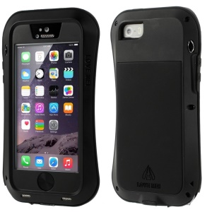 LOVE MEI Metal + Silicone + Gorilla Glass Hybrid Cover for iPhone 5s 5 - Black