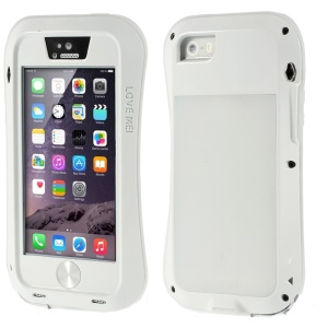 LOVE MEI Metal + Silicone + Gorilla Glass Hybrid Cover for iPhone 5s 5 - White