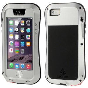 LOVE MEI Metal + Silicone + Gorilla Glass Hybrid Shell for iPhone 5s 5 - Silver