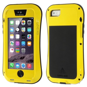 LOVE MEI Metal + Silicone + Gorilla Glass Hybrid Case Cover for iPhone 5s 5 - Yellow