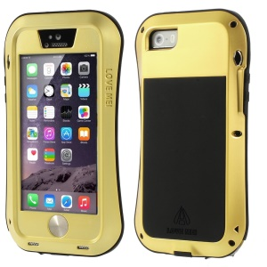 LOVE MEI Metal + Silicone + Gorilla Glass Hybrid Case Shell for iPhone 5s 5 - Matte Gold
