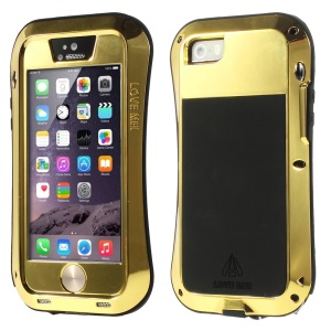 LOVE MEI Metal + Silicone + Gorilla Glass Hybrid Case Shell for iPhone 5s 5 - Gold