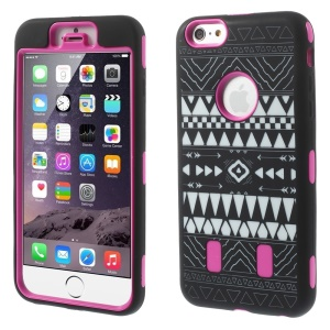 3-in-1 Tribal Pattern Silicone + PC Combo Case for iPhone 6 Plus - Rose