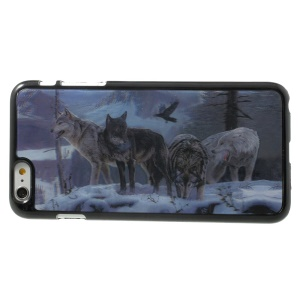 3D Effect Four Wolves in the Snow Hard Plastic Skin Case for iPhone 6 Plus