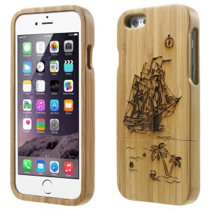 Detachable Bamboo Protective Case for iPhone 6 - Sailing Ship & Tree