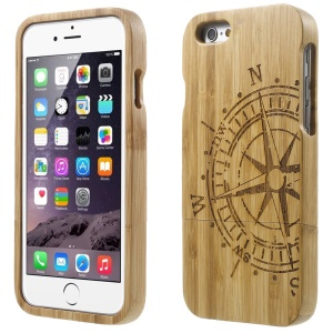 Detachable Carved Bamboo Protective Cover for iPhone 6 - Compass