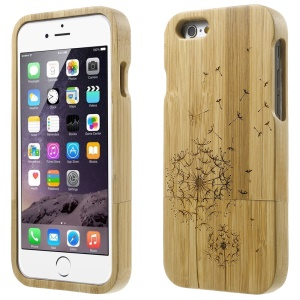 Detachable Carved Bamboo Protective Shell for iPhone 6 - Dragonfly & Dandelion