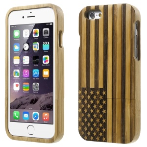 Detachable Carved Bamboo Protective Case for iPhone 6 - US National Flag