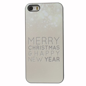 Sparkling Dots Merry Christmas & Happy New Year Aluminium Alloy Skin Plastic Case for iPhone 5 5s