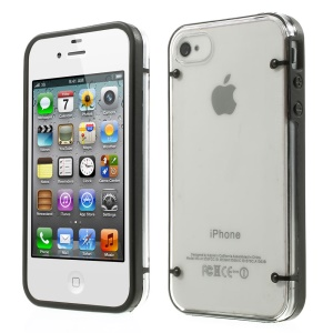 Black TPU Edges and Crystal Plastic Back Case for iPhone 4 4s