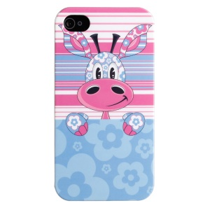 LOFTER IMD Cartoon Series Plastic Protective Case for iPhone 4 4s - Giraffe Loew & Flower