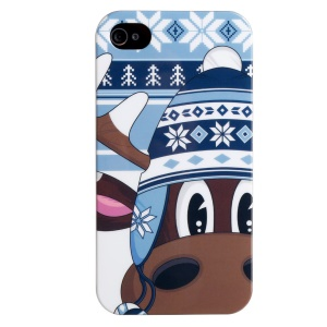 LOFTER IMD Cartoon Series PC Skin Cover for iPhone 4 4s - Giraffe Loew Wearing Winter Hat