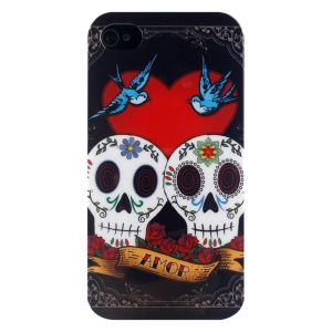 LOFTER Skull Series IMD Plastic Hard Cover for iPhone 4 4s - Love Skull Couple