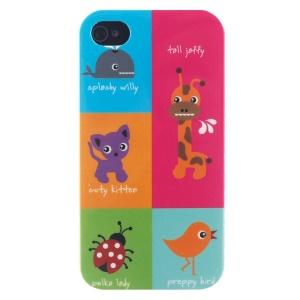 LOFTER for iPhone 4 4s Fresh Series IMD Hard Phone Case - Cute Cartoon Aminals