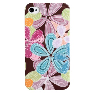LOFTER Fresh Series IMD Plastic Shell for iPhone 4 4s - Cartoon Colorful Flowers